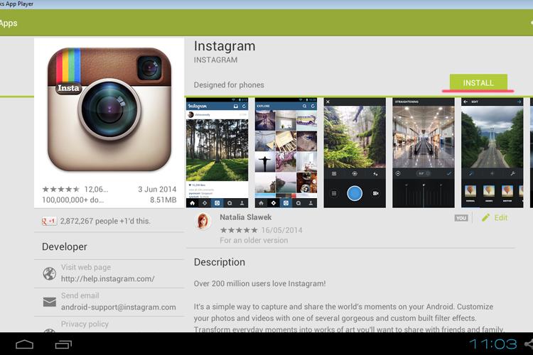 instagram na komputerze