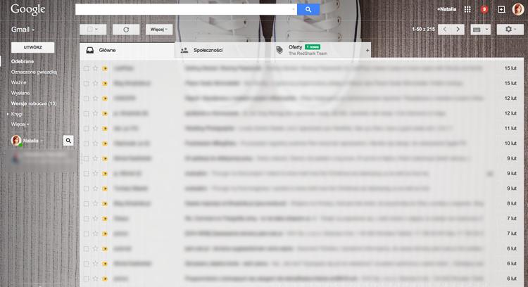 porządek w skrzynce mailowej gmail