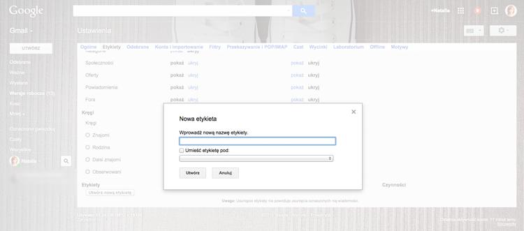 personalizacja skrzynki mailowej gmail