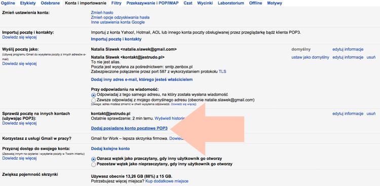 konfiguracja skrzynki gmail