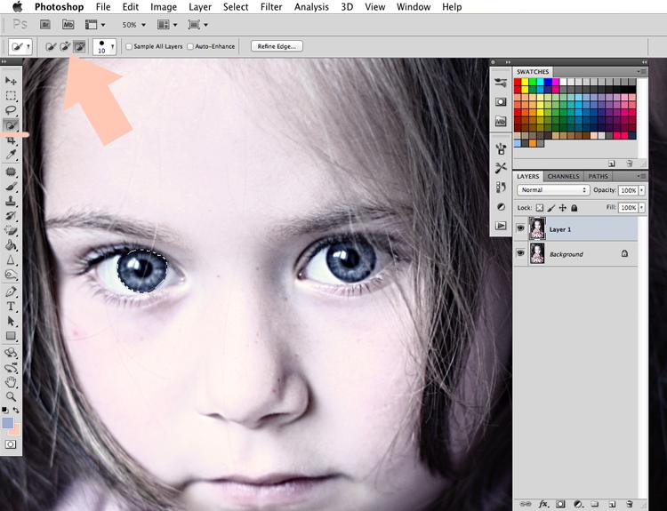 błyszczące oczy na zdjęciu tutorial