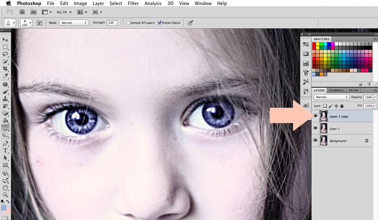 jak zrobić błysk w oku bliki poradnik photoshop