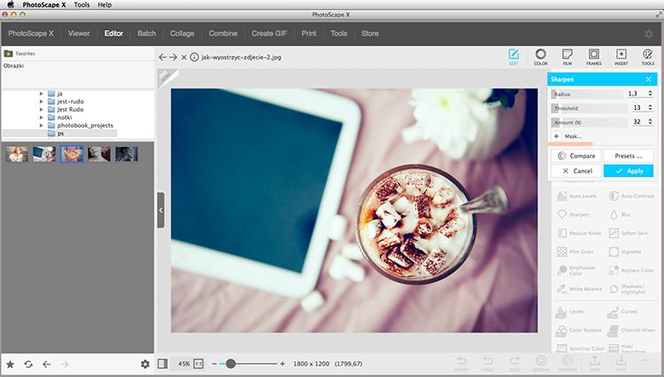 jak wyostrzyć zdjęcie w Photoscape